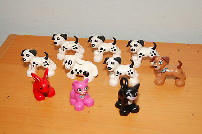 Lot of 10 Lego Duplo Dog Cat Rabbit Spotted Red Pink  Black White