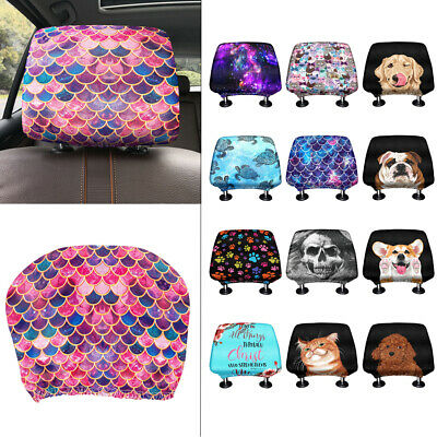 Soft Polyester Fabric Car Headrest Cover - size 23cm x 25cm, Universal Fit
