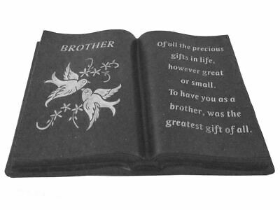 Slate Grey Brother Memorial Dove Book Stone Grave Plaque Ornament Graveside