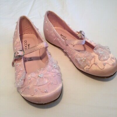Debenhams Girl's Party / Bridesmaid Shoes Pink + Beads & Lace - UK Infant Size 7