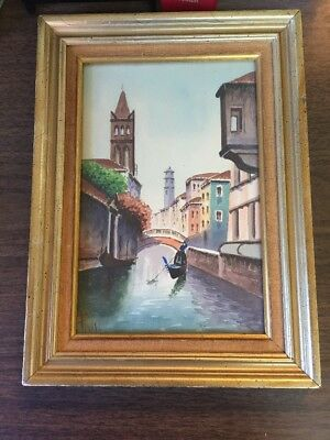 ORIGINAL WATERCOLOR PAINTING ITALY Water Way Scene Framed Glazed  Signed Pioggi