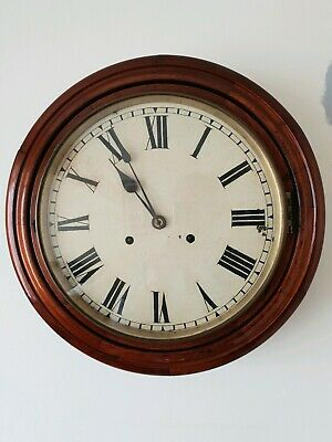 "Antique 16"" Station Clock With Bell Chime"
