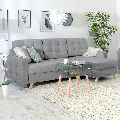Corner Sofa Lounge / TV Lounge Sofa VELVET with Chaise Sofa Bed in Grey Fabric