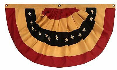 "Tea Stained Primitive American Flag Cotton 40"" x 20"" Patriotic Bunting July 4th"