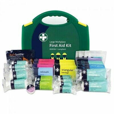BS8599-1:2019 Large Work Place First Aid Kit Carry Case Plasters Wipes Gloves
