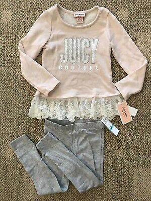 Juicy Couture Girls Size 6 Two Piece Outfit Long Sleeve Top Pants Leggings Pink