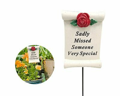 Someone Special Memorial Ornament Graveside Tribute Red Rose Scroll Stick Rod