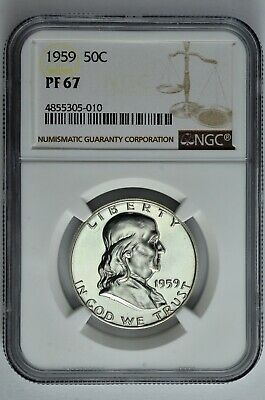 1959 50c Silver Proof Franklin Half Dollar NGC PF 67