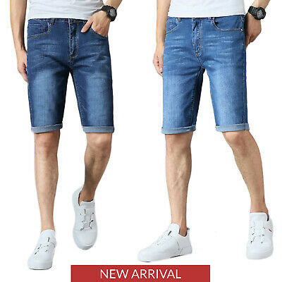 Mens Boys Denim Shorts Stretch Slim Fit Summer Half Jeans Pants Dark Blue Light