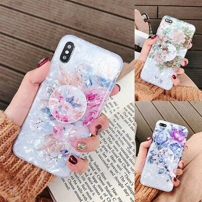 For iPhone 11 Pro Max XS XR 6s 7 8 Plus Shell Flower Holder Stand TPU Case Cover