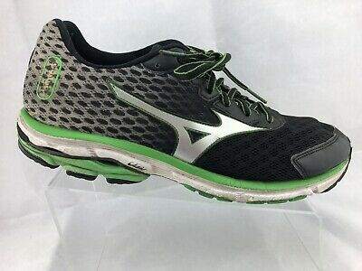 separation shoes 5ca31 1f008 MIZUNO WAVE RIDER 18 Men's Athletic Running Shoes Black/Gray/Green Size 11.5