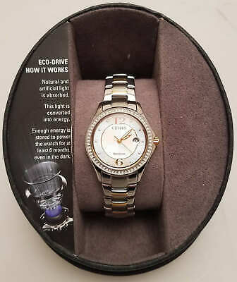 Citizen Eco-Drive Women's FE1144-77A Two-Tone Crystal Watch (Damaged Box)