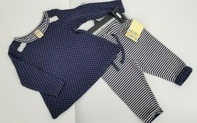Harper Canyon Baby Girl Double Knit Striped Dots 2 Piece Top & Pant Set NWT 12M