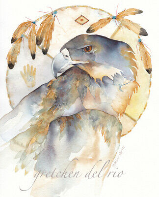 GREETING CARD spiritual art watercolor Delrio spirit totem 'GOLDEN EAGLE' blank