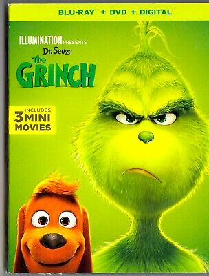 The Grinch Blu-ray + DVD + Digital (2019) Brand New with Slipcover Dr. seuss