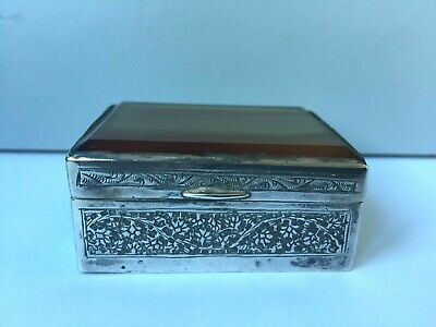 Vintage Eastern Metal Patch or Pill Box With Agate Lid