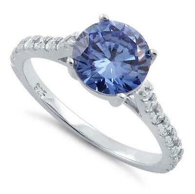 Melchior Jewellery Sterling Silver TANZANITE Round Cut CZ ENGAGEMENT Ring Boxed