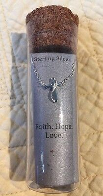 """Sterling Silver Cross 18"""" Necklace """"Faith, Hope, Love"""""""