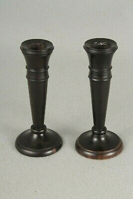 Vintage Real Ebony Pair Of Candlesticks