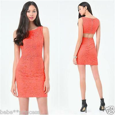 NWT bebe coral overlay lace cutout back round neck zip back top dress XXS 00