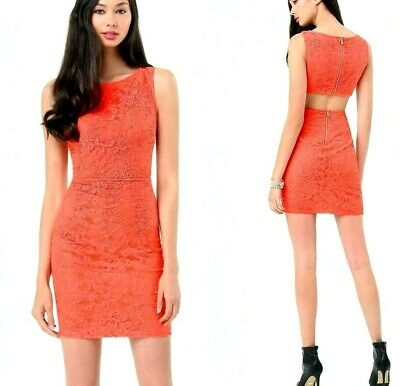 NWT bebe coral overlay lace cutout back round neck zip back top dress L large 10