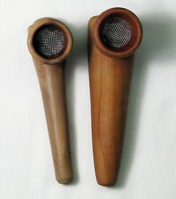 Medicine Pipes.  Pair of Hand Turned Cherry Wood Pipes