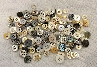 Lot of 100+ Vintage Round Mother of Pearl Buttons Various Colors And Shapes