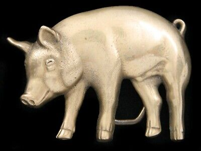 Ri05119 Vintage 1978 Cut-Out **Pig** Solid Brass Baron Belt Buckle