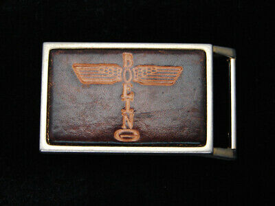 QK03128 *NOS* VINTAGE 1970s **BOEING** AIRCRAFT COMPANY LEATHER BELT BUCKLE