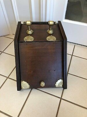 Antique Art Deco English Dark Walnut & Brass Coal Bin Scuttle Ash Box