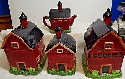 COUNTRY KITCHEN CANISTERS & Decor- Hens & Roosters On Plates ...