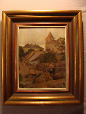 """Lovely """"Village Walk"""" - Antique Oil on Board - possibly Bohemia - reference"""