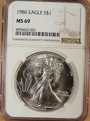 1986 American Silver Eagle, NGC graded MS69, White Coin, 1 oz Silver, 1st Year