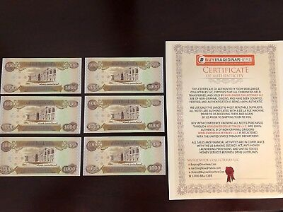 6,000 Iraqi Dinar (6) 1,000 Notes@ Uncirculated!! Authentic! Iqd