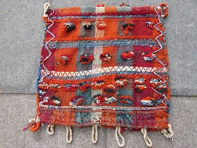 Old Traditional Hand Made Persian Oriental Wool Orange Kilim Bag 59x55cm