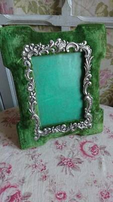 CHARMING ANTIQUE FRENCH VELVET & REPOUSSE TOLE PICTURE PHOTO FRAME c1900