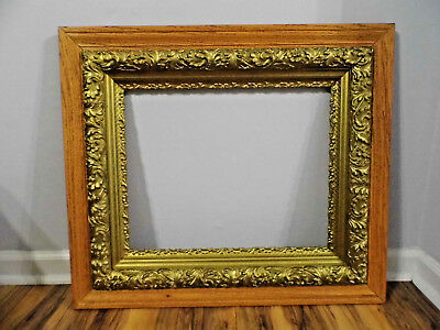 Antique Oak Wood Ornate Gold Gilt Gesso Picture Frame 26x30 Fits 16x20