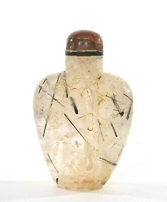 19C Chinese Black Hair Quartz Crystal Pink Tourmaline Snuff Bottle Pine Crane