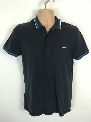 eb78a70f Mens Dkny Navy Cotton Short Sleeve Button Up Polo Shirt T-Shirt Top Size  Small