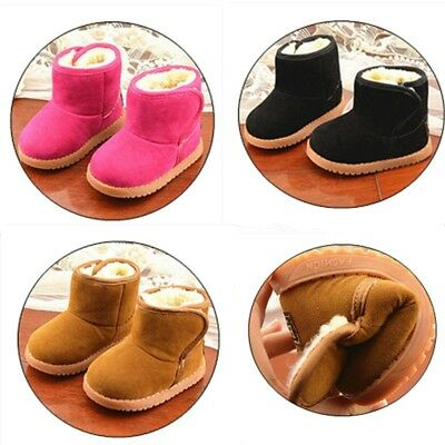 AU Winter Warm Infant Toddler Baby Kids Thick Slip On Cute Snow Boots Fur Shoes
