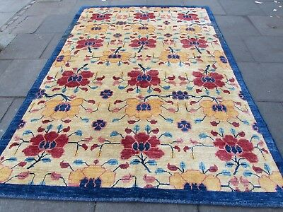 Traditional Hand Made Afghan Gabbeh Wool Gold Yellow Carpet 300x207cm