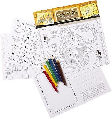 Childrens set of 4 Educational Egyptian Colouring Cards & colouring pencils