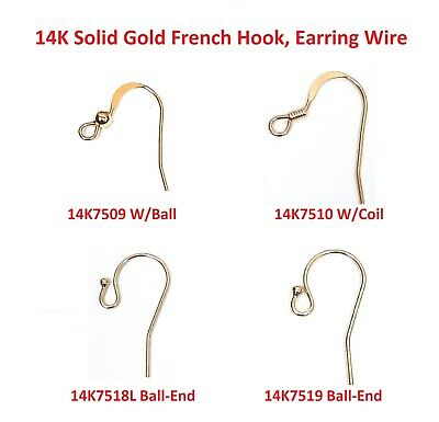 14K  Solid Gold  French hook, Earring Wires, 1 pair, 3 pairs