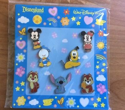 Disney Baby Characters Mickey Minnie Donald Goofy Stitch Chip&Dale 7 Pin Set