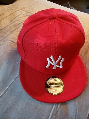 1bdeb83dfd0 New Era 59Fifty Hat New York Yankees Mens Black Fitted 5950 Red Cap white  logo