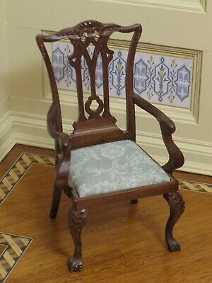Chippendale Arm Chair with Ornate Splat & Carvings Artisan Dollhouse Miniature