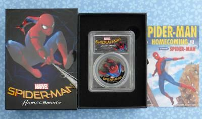 2017 PCGS Black PR70 DCam Spider-Man Homecoming Marvel 1oz Silver, Cook Islands