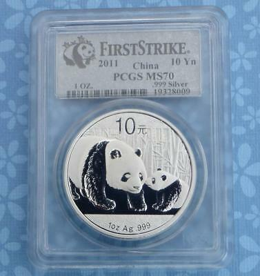 2011 PCGS MS 70 China Panda 1 Ounce .999 Silver 10 Yuan Coin, First Strike Coin