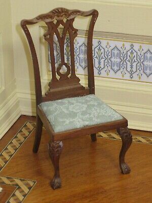 Chippendale Side Chair with Ornate Splat & Carvings Artisan Dollhouse Miniature
