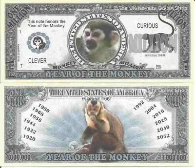 Year Of The Monkey Clever Curious Million Dollar Bills x 2 Chinese Zodiac 2016